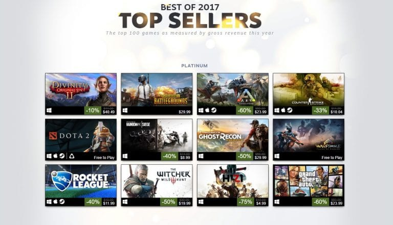 100 best selling PC games on Steam for 2017
