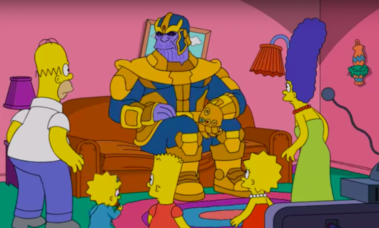 "Thanos from the Avengers movie appeared in ""The Simpsons"" and killed half of the Springfield."